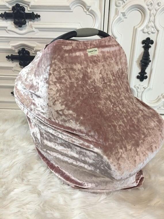 Blush crushed velvet Car seat cover Nursing cover Shopping cart cover 3 in 1