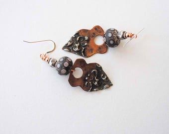 Copper Earrings, Stamped Silver Solder Jewelry, Lampwork Earrings, Unique Artisan Earrings, Large Boho Chic Jewelry, Rustic Earrings