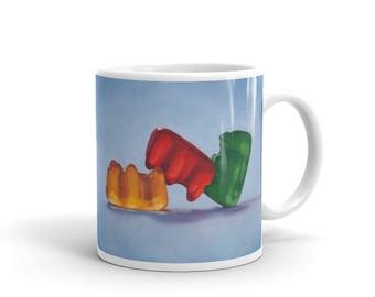 Gummiamory 11oz Mug, gummy bears, kitsch, adult, polyamory, threesome, humor, funny, unusual, sex, candy, playful, unique, colorful, coffee