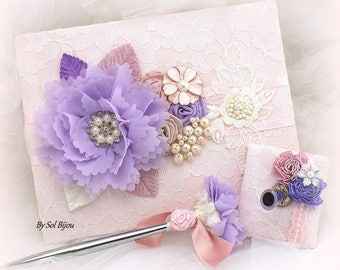 Wedding Guest Book,White,Lilac,Rose,Pink,Purple,Lace Guest Book,Elegant,Bridal Shower,Vintage Style,Signature Book,Pen,Gatsby Wedding