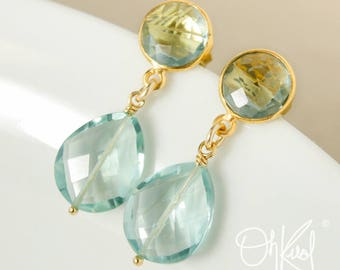 Gold Aqua Green Quartz Earrings - Post Setting - Aqua Quartz Dangle Earrings