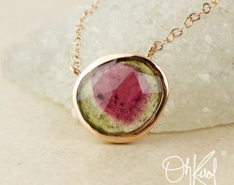 Organic Round Watermelon Tourmaline Necklace - Natural Tourmaline - Choose Your Setting
