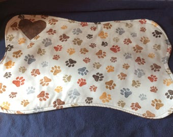 Dog Bone Placemat  Reversible Cotton Quilted Paw Print B
