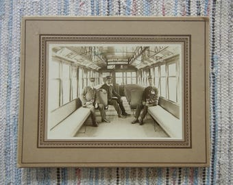 Vintage  Photo Streetcar with Conductors Early 1940's Sepia Tone Advertising