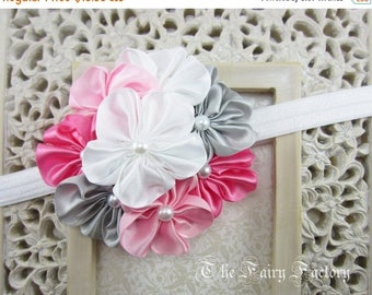 Satin Flower Headband, Pink Gray and White Satin Flowers with Pearls Stretchy Headband - The Grace - Baby Toddler Child Girls Headband