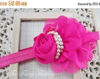 Hot Pink Flower Headband - Chiffon Rose Flower with Pearls Hot Pink Headband or Hair Clip - The Audrey - Baby Toddler Child Girls Headband