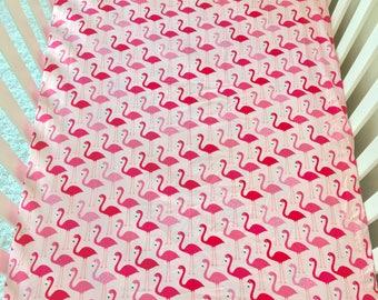 Pink Flamingo Cotton Crib Sheet, Baby Pink Crib Sheet, Fitted Crib Sheet, Sheet for Baby, Crib Sheet for Baby Girl, Standard Crib Sheet