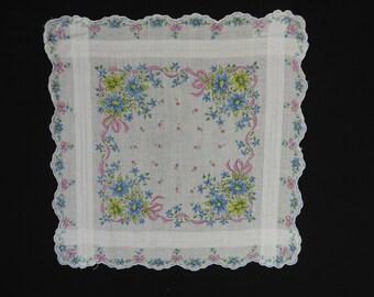 vintage floral handkerchief 50s blue daisies floral pink ribbon scallop edge hanky pocket square