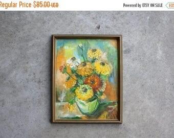 SALE SALE SALE Vintage Original Art Painting Still Life Floral Flowers Zinnias Bouquet Vase Warm Colors Signed By Artist Home Decor Canvas E