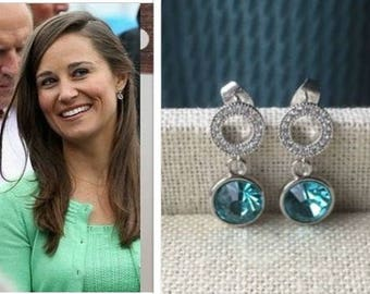 Pippa Middleton Aquamarine Crystal Sterling Silver Cubic Zirconia Circle Drop Earrings