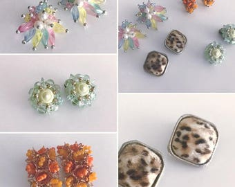Vintage Lot of Clip On Earrings from the 1950's -- Four Pair -- Leopard, Beaded