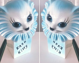 Kitschy Vintage 50's Ceramic Kash Kitty Bank -- Adorable Retro Cuteness