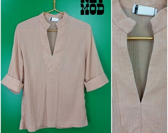 Vintage 70s Beige Crinkle Gaize Cotton Tunic Hippie Blouse Shirt Top
