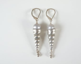 Vintage Sterling Silver 925 Nautical Beach Conch Spiral Seashell Pearl Drop Leverback Earrings