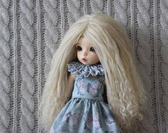 Long Nordic Blond mohair wig for Littlefee / other YoSD sized / Unoa / Enyo doll