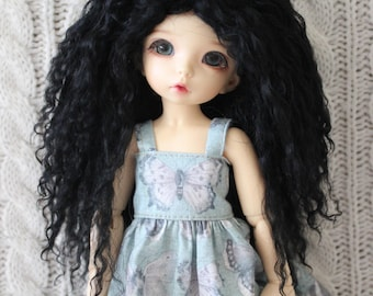 Raven Black mohair wig for Littlefee / other YoSD sized / Unoa / Enyo doll