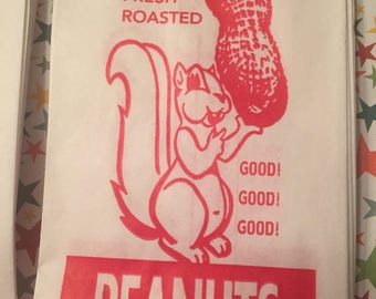 Peanuts Get Your Peanuts....Cute Peanut Bags With Retro Graphics 25 Bags Fast Economical Shipping