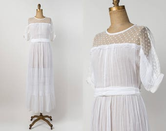 1970s White Sheer Dress - 70s Vintage Cotton Gauze Dress - Swiss Dot Lace Floor Length Maxi Dress - Casual Boho Wedding Gown - s / m