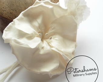 Silk 'Katie May' Millinery Flower Hat Mount for Bridal Fascinator Headdresses  - Ivory