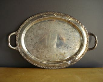 Large Oval Silverplate Serving Tray - Wm. Rogers and Son. Spring Flower 2080 Silver Tray Handles - Vintage Silverplate Plant or Drink Tray