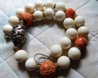 Antique Chinese Sterling Silver Turtle Bead - Salmon and Fossil Coral Necklace