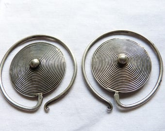 Antique Tribal Miao Spiral Silver Earrings, Tribal Errings south East Asio Jewelry, Ethnic, Silver Alloy