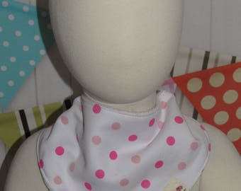 new baby toddler girl  one piece bandana bib hot pink dots FREE shipping with 25 dollars purchase