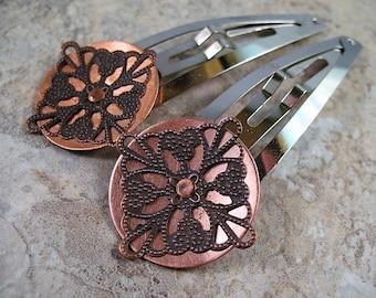 Jumbo Copper Filigree on Copper Hair Clips