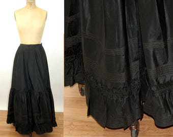 Victorian black skirt silk taffeta mourning skirt with tiered ruffles pintucks steampunk gothic Size S/M