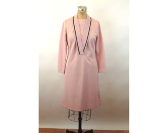 1960s dress pink mauve dusty rose double knit polyester shawl collar dress Size M