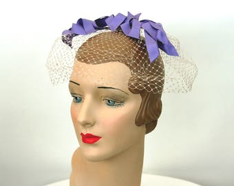 1960s net hat veil hat with ribbons purple lavender bows