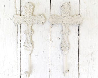 Cross Hooks, Key Hooks, Towel Hooks, Coat Hooks, White Hooks, Shabby Cottage Chic, Rustic Decor, Religious Decor, Faith Home Decor