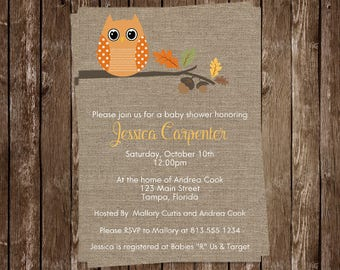 Owl Baby Shower Invitations, Burlap, Fall, Autumn Baby, Leaves, Orange, Sprinkle,  10 Printed Invites, FREE Shipping, FALHT, Fall is a Hoot