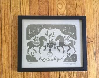 Kentucky Lino Print - Heather Pink