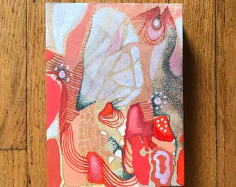 Original Acrylic Abstract Painting on Paper Mounted on Wood (2'' deep), Peach, Red, White, Gray Color Scheme, Ready to Hang 6 x 8