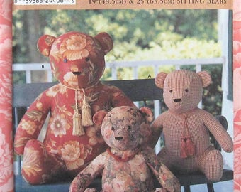 Teddy Bear Sewing Pattern UNCUT Simplicity 9444 Elaine Heigl sitting bears