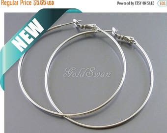 10% SALE 4 pcs / 2 pairs large 50mm plain & simple hoop earrings, matte silver earring hoops 983-MR-50