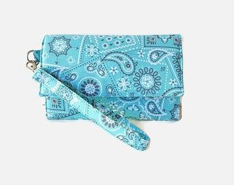 Cushioned Cell Phone Wristlet Wallet - Turquoise Trifold Wallet - Padded Wristlet - iPhone Wallet - Turquoise Wristlet Wallet - Phone Pouch