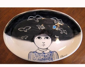 SALE signed LETICIA TARRAGO Mexican artist ceramic platter surrealism