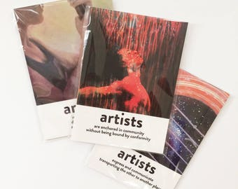 "3 packs of 'What do artists do?' 5x7"" postcards - all 12 designs!"