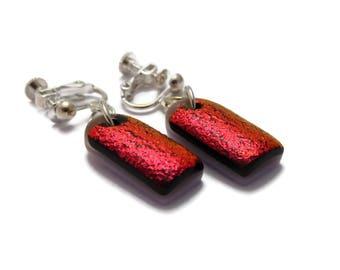 Dichroic Dangle Earrings, Clip On Screw Back Earrings, Non Pierced Earrings, Red Dangle Earrings, Fused Glass Dangle Earrings