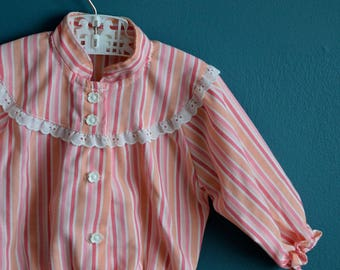 Vintage Baby Girl's Pink and White Striped Jacket by Carter's- Size 12 Months