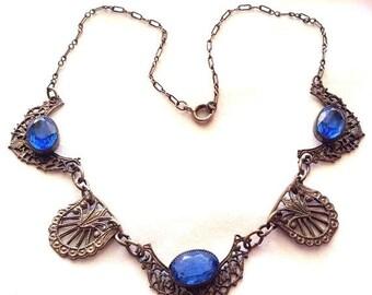 SALE SALE SALE Beautiful Art Deco Saphire Blue Open Back Czech Glass Vintage Necklace
