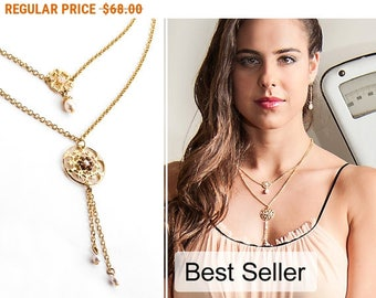20% OFF - CIJ SALE Gold layered necklace, Layered necklace gold, Double strand necklace, Gold double necklace, Double layer necklace,