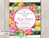 Flamingo Graduation Invitation, Tropical Party Invitation, Open House Invitation, Class of 2018, Graduation Announcement, Luau Party
