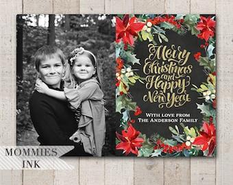 Photo Christmas Card, Photo Holiday Card, Modern Christmas Card, Gold Foil Card, Poinsettia Card, Christmas Flower Card, Modern Typography