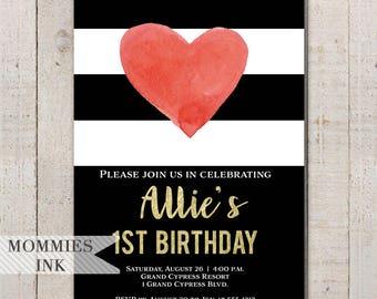 Watercolor Heart Birthday Invitation, Heart Invitation, Red Heart Invitation, Black and White Stripes, Party Invitation, 1st Birthday Invite