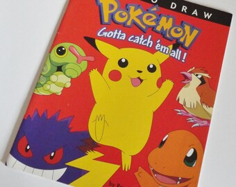 1 Vintage POKEMON How To Draw Pokemon Book - Gotta Catch Em All, First Generation Pokemon Pikachu Caterpie Charmander Gengar Pidgey Pokeball