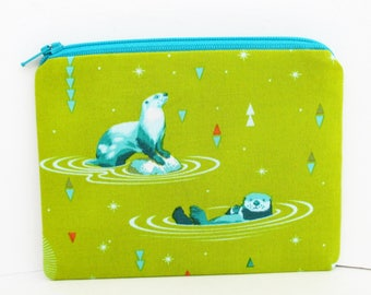 Pouch Small Zippered, Sea Otter Chill, Lime and Teal, Tula Pink Coin Purse