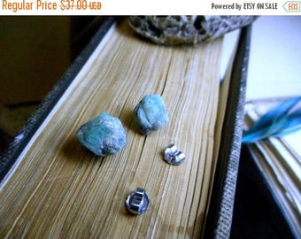 The Isle of Skye Emerald Earrings. Large Genuine Emerald Raw Rough Specimens & titanium post earrings. Ear studs. green stones specimens